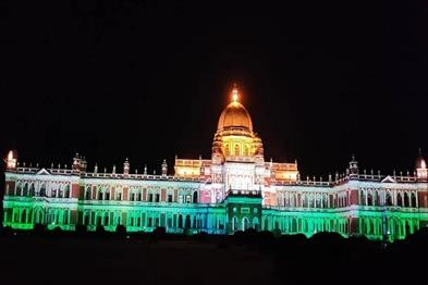 Khabar East:Cooch-Behar-Palace-lit-up-with-colorful-lights-after-crossing-the-100-crore-vaccination-mark