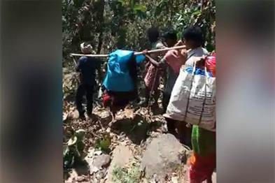 Khabar East:pregnant-woman-carrying-15-KM-to-the-hospital-on-basket-due-to-lack-of-road