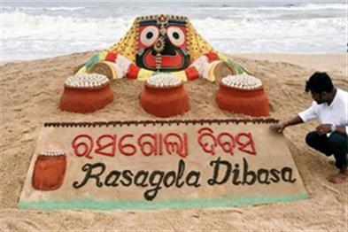 Khabar East:sand-image-attracted-on-the--World-Rasgulla-Day-at-puri-beach